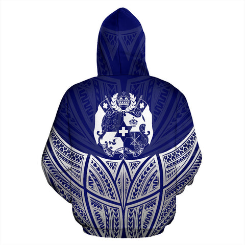 Image of Tonga Polynesian Custom Personalised Hoodie Blue Pride Map And Seal - BN39