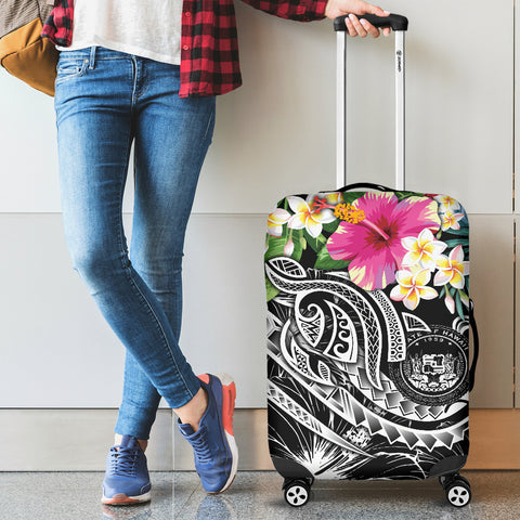 Polynesian Hawaii Luggage Covers - Summer Plumeria (Black)