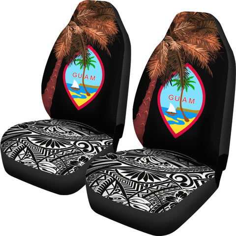 Guam Car Seat Covers - Guahan Palm Tree Polynesian Pattern Black - BN39