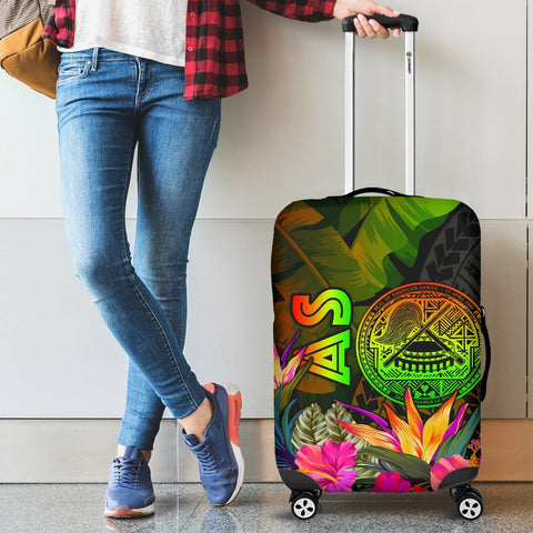 American Samoa Polynesian Luggage Covers -  Hibiscus and Banana Leaves