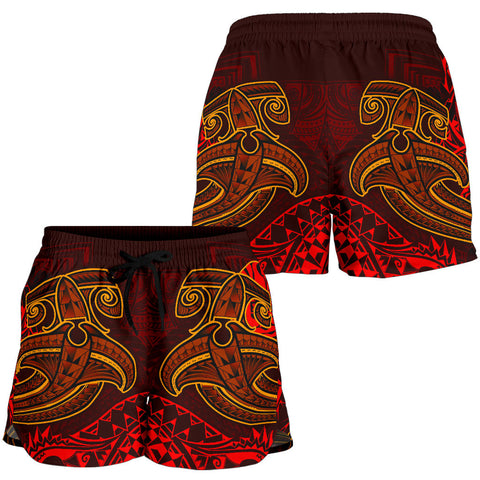 Tahiti Women's Shorts - Red Shark Polynesian Tattoo - BN18