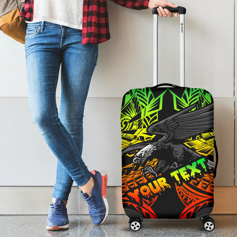 Samoa Polynesian Custom Personalised Luggage Covers - Eagle Tribal Pattern Reggae - BN12