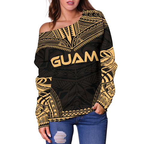 Guam Polynesian Chief Women's Off Shoulder Sweater - Gold Version