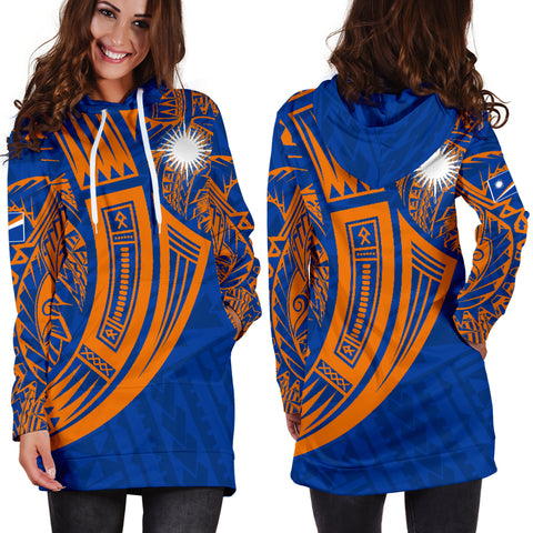 Marshall Islands Polynesian Women's Hoodie Dress - Tribal Tattoo - BN12