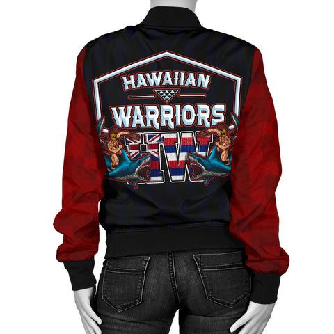 Polynesian Hawaii Women's Bomber Jacket - Shark Warrior - BN12