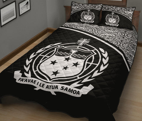 Samoa Quilt Bed Set - Black Curve Version - BN12