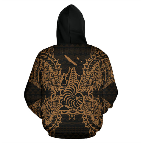 New Caledonia Polynesian All Over Zip Up Hoodie Map Gold - BN39