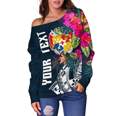 Image of Tonga Custom Personalised Women's Off Shoulder Sweater - Summer Vibes