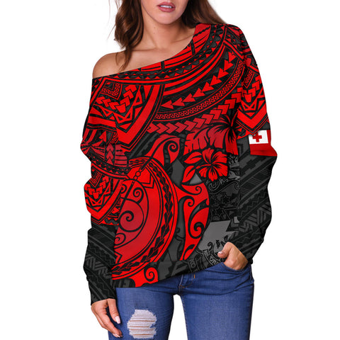 Tonga Polynesian Women's Off Shoulder Sweater - Red Turtle