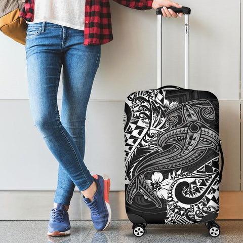 Polynesian Luggage Covers - White Shark Polynesian Tattoo