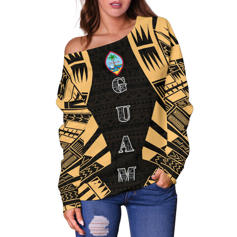 Image of Guam Women's Off Shoulder Sweater - Polynesian Tattoo Gold - BN0110