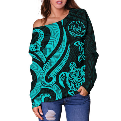 Tahiti Polynesian Women Of Shoulder Sweater -Turquoise Tentacle Turtle - BN11