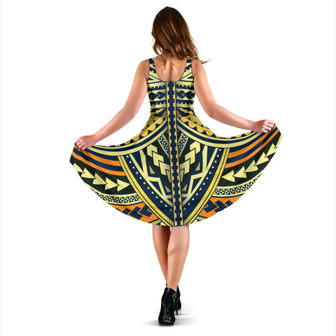 Polynesian Tattoo Midi Dress - BN11