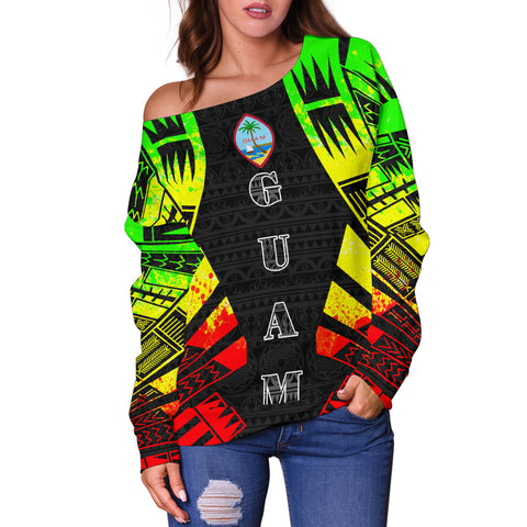 Image of Guam Women's Off Shoulder Sweater - Polynesian Tattoo Reggae - BN0110