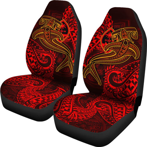 Image of Guam Polynesian Car Seat Covers - Red Shark Polynesian Tattoo - BN18