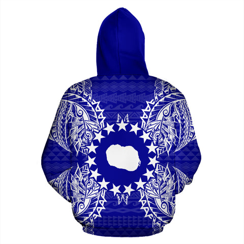 Cook Islands Polynesian All Over Zip Up Hoodie Map Blue - BN39