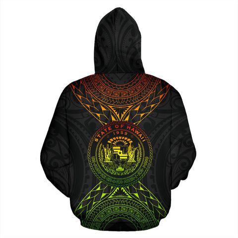 Hawaii Map Polynesian All Over Zip-Up Hoodie back