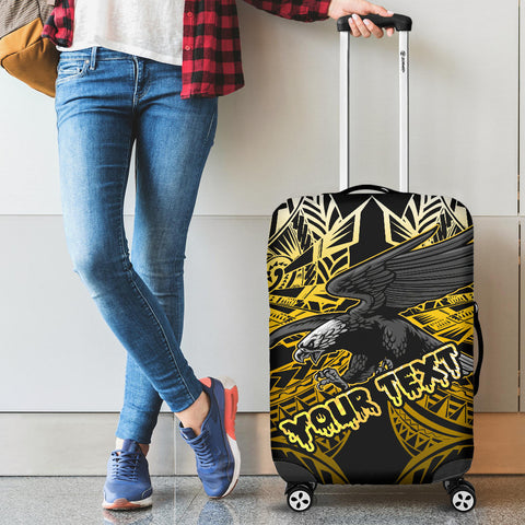 Image of Samoa Polynesian Custom Personalised Luggage Covers - Eagle Tribal Pattern Yellow - BN12