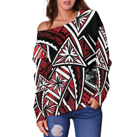 Fiji Women's Off Shoulder Sweaters  - Tribal Flower Special Pattern Red Color - BN20