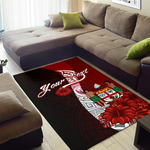 Fiji Polynesian Custom Pesonalised Area Rug - Coat Of Arm With Hibiscus - BN12