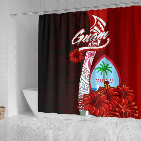 Image of Guam Polynesian Shower Curtain - Coat Of Arm With Hibiscus - BN12