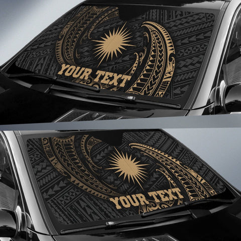 Marshall Islands Polynesian Custom Personalised Sun Shades - Gold Tribal Wave - BN12