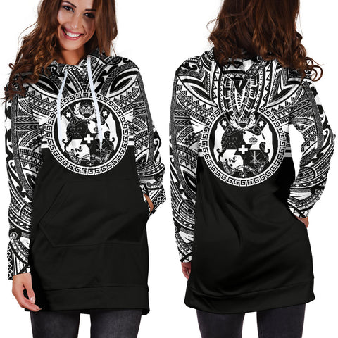 Tonga Women Hoodie Dress - Tonga Coat Of Arms Polynesian Black Color Bn10