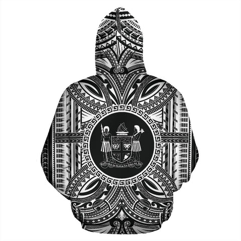Fiji All Over Hoodie - Fiji Coat Of Arms Polynesian White Black Bn10