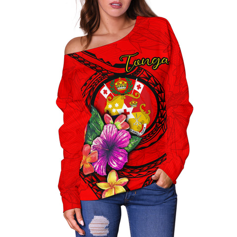 Tonga Polynesian Women's Off Shoulder Sweater - Floral With Seal Red - BN12