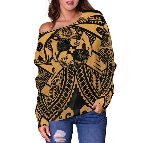 Tonga Polynesian Women's Off Shoulder Sweater - Tonga Gold Seal Polynesian Tattoo - BN18
