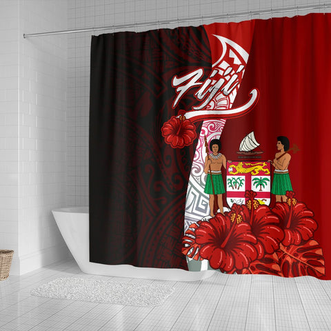 Fiji Polynesian Shower Curtain - Coat Of Arm With Hibiscus - BN12
