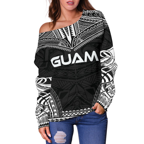 Guam Polynesian Chief Women's Off Shoulder Sweater - Black Version