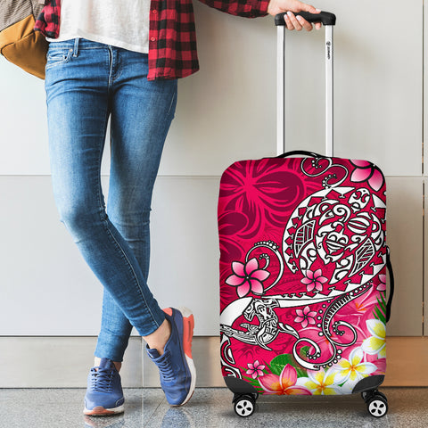 Image of Polynesian Luggage Covers - Turtle Plumeria Pink Color