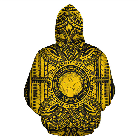 Northern Mariana Islands All Over Hoodie - Northern Mariana Islands Coat Of Arms Polynesian Gold Black Bn10