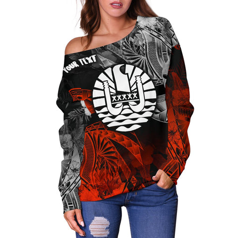 Tahiti Polynesian Personalised Women's Off Shoulder Sweater - Vintage Polynesian Turtle