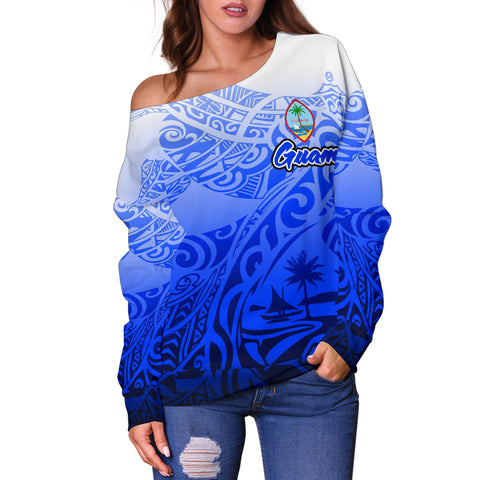 Guam Women's Off Shoulder Sweater - Tribal Tattoo With Seal - BN12