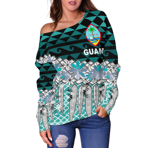 Image of Guam Women's Off Shoulder Sweaters  - Coconut Leaves Weave Pattern Blue - BN20