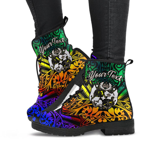 Tonga Custom Personalised Leather Boots - Rainbow Polynesian Pattern - BN11