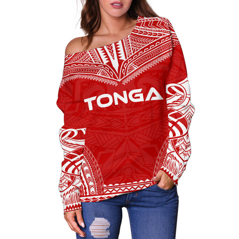 Tonga Flag Polynesian Chief Women's Off Shoulder Sweater