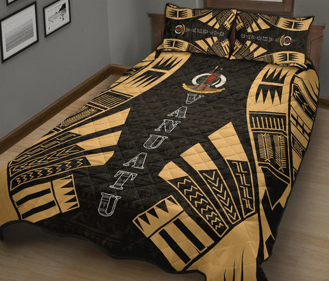 Vanuatu Quilt Bed Set - Yellow Tattoo Style