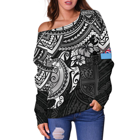 Fiji Polynesian Women's Off  Shoulder Sweater - White Turtle - BN1518