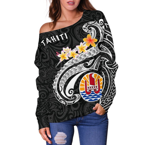 Tahiti Women's Off Shoulder Sweater - Tahiti Seal Polynesian Patterns Plumeria (Black)