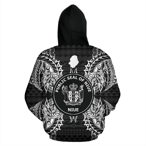 Image of Niue Polynesian All Over Zip Up Hoodie Map Black - BN39