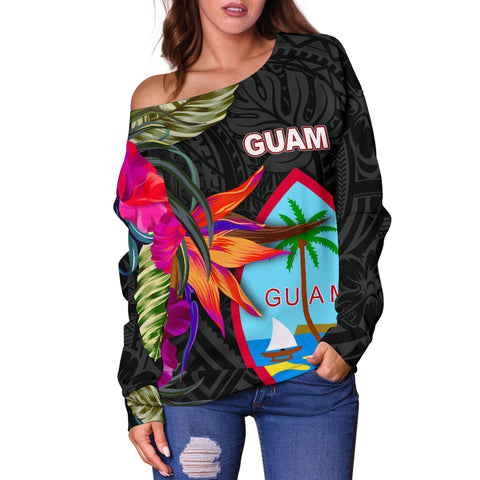 Guam Shoulder Sweater - Hibiscus Polynesian Pattern - BN39