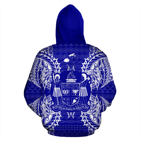 Fiji Polynesian All Over Zip Up Hoodie Map Blue - BN39