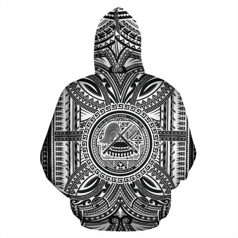 American Samoa All Over Hoodie - American Samoa Coat Of Arms Polynesian White Black Bn10