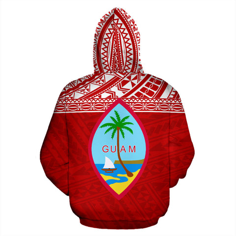Guam Polynesian All Over Custom Personalised  Zip-Up Hoodie - Red Horizontal Style - BN12