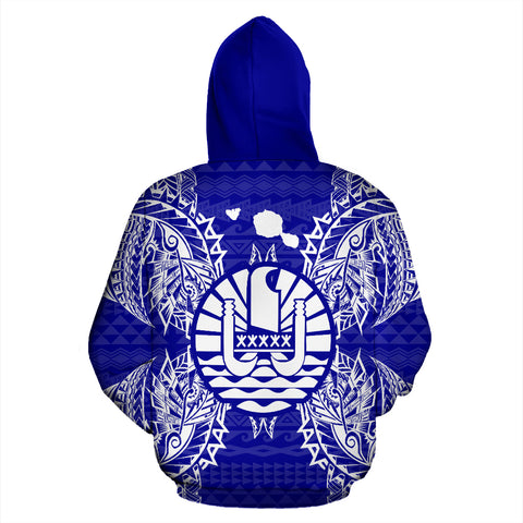 French Polynesia Polynesian All Over Zip Up Hoodie Map Blue - BN39