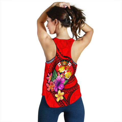 Tonga Polynesian Custom Personalised Women's Racerback Tank - Floral With Seal Red - BN12