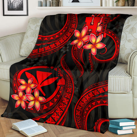 Polynesian Hawaii Premium Blanket - Red Plumeria